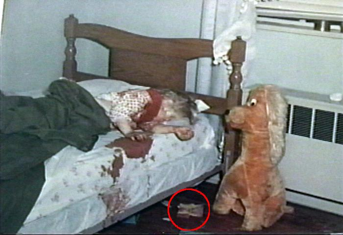 Doll shirt in north bedroom (circled by webmaster), with body of Kristen MacDonald as found in bed